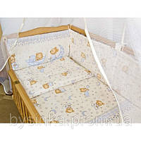 """Бортики и постелька в кроватку новорожденного- """"Мишка на подушке"""" бежевый"""