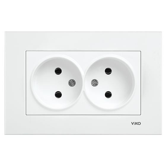Розетка двойная Белый Karre Viko, 90960055