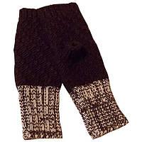 Вязаные спицами рукавички - митенки