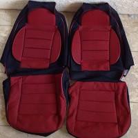 Чехлы модельные Pilot для  Lanos ткань черная+красная (Пилот для Деу Ланос)