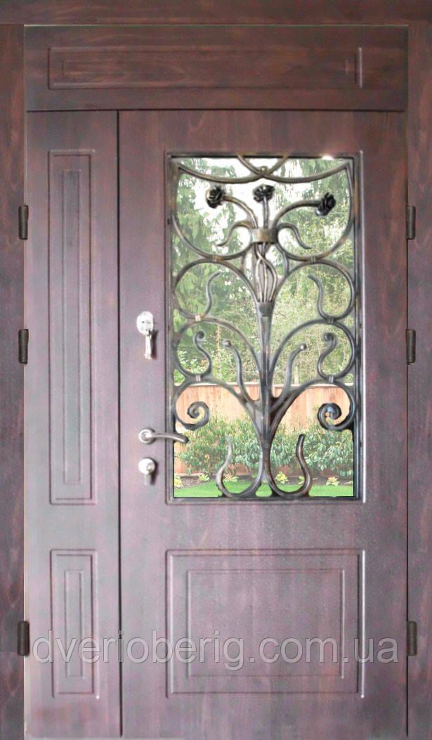 Двери входные двухстворчатые с фрамугой модель П3-68 vinorit-80 КОВКА РОЗЫ