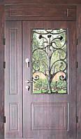 Входная дверь двух створчатая с фрамугой модель П3-68 vinorit-80 КОВКА РОЗЫ