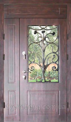 Двери входные двухстворчатые с фрамугой модель П3-68 vinorit-80 КОВКА РОЗЫ, фото 2