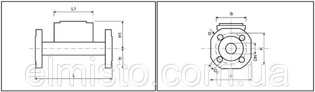 Габаритні розміри ультразвукового витратоміра Sharky FS 473 з фланцевим з'єднанням