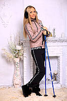 Стильный, теплый женский костюм с карманами, цвет бэжевый