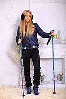 Стильный, теплый женский костюм с карманами, цвет синий