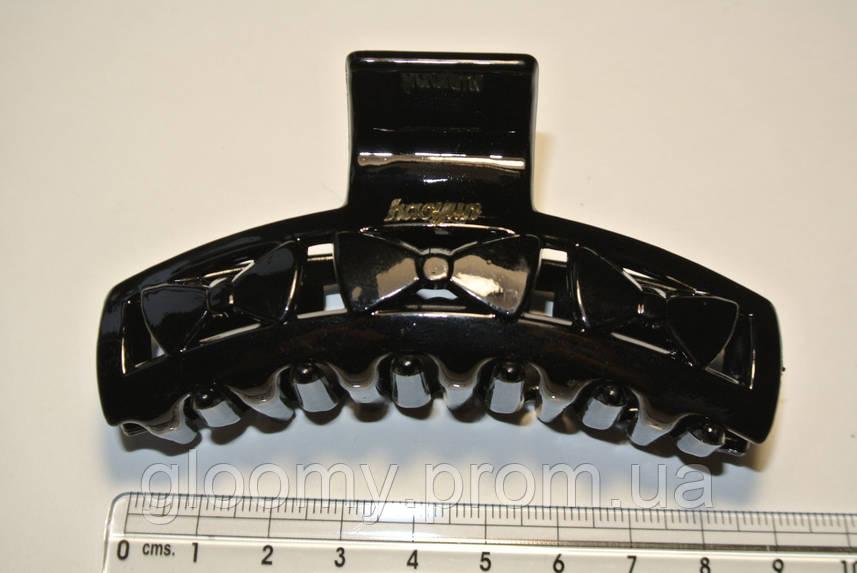 Черный пластиковый краб для волос с логотипом
