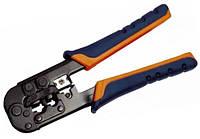 Инструмент обжим для RJ-45,12,11 без храпового механизма сине-оранжевый ITK