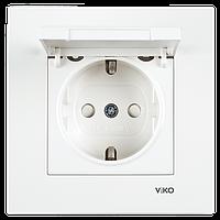 Розетка с заземлением со шторками и крышкой белая Viko (Вико) Karre (90960012)