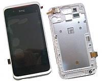 Дисплей (экран) для HTC Desire 210 Dual Sim + с сенсором (тачскрином) и рамкой белый