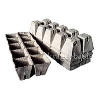 Торфяные кассеты для рассады 2х5 яч. 60х60мм с дренаж. отверстиями