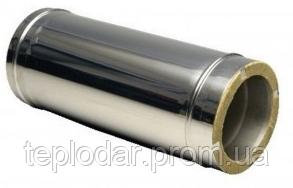 Труба - продовжувач нержавійка з теплоізоляцією в оцинковці L = довжина 1 м, Сталь : 0,1мм Ø 160/220 мм