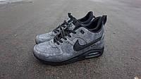 Зимние кроссовки Nike  Air Max 90 Sneakerboot серые ,эко-кожа,подошва -пенка,термоносок , р-р 40-44  Вьетнам