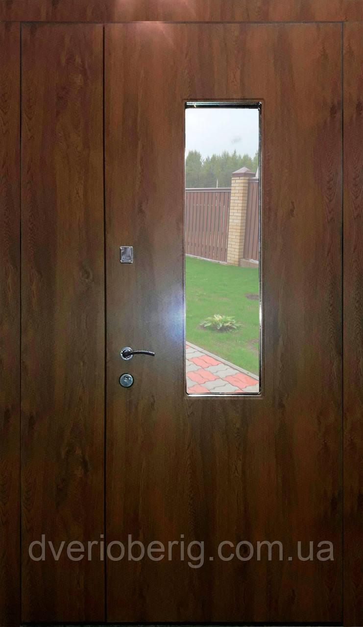 Входная дверь двух створчатая модель П3-ГЛАДКАЯ vinoriy-02 СТЕКЛО