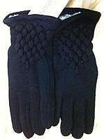 Чёрные хлопково трикотажные перчатки подкладка иск. кролик