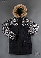 Зимняя куртка (парка) Staff - Mount print modern camo Art. BRZ0010 (чёрный \ камуфляж)