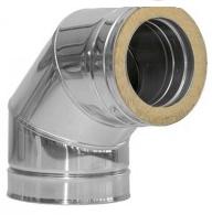 Коліно димохідне нержавійка з теплоізоляцією в оцинковці 90° сталь: 0,5 мм Ø 160/220 мм