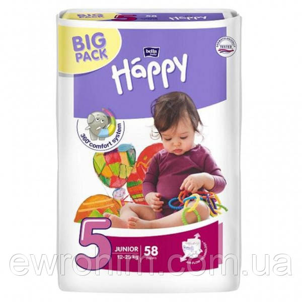 Подгузники Happy Junior 5 (12-25 кг)  58 шт