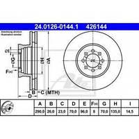 ATE 24.0126-0144.1 Диск тормозной передний, Mercedes-Benz 616