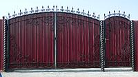 Кованые ворота  из металопрофилем