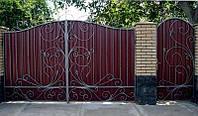 Ворота кованые из профнастилом