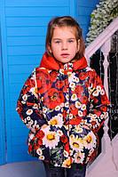 Куртка осенняя для девочки «Мери», принт красный, 92- 116