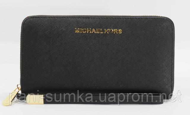 Кошелек женский кожаный на молнии Michael Kors 60019-А черный ... 7cf2f37e9b3