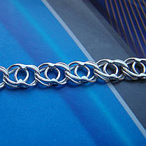 Серебряный браслет, 180мм, 9 грамм, плетение Арабский Бисмарк, фото 2