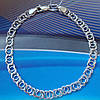 Серебряный браслет, 180мм, 9 грамм, плетение Арабский Бисмарк, фото 3