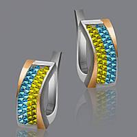 Серебряные серьги с камнями сваровски