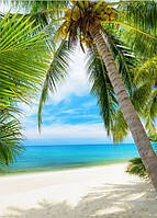 Кафель панно Пальма на пляже - фотоплитка панно,  плитка 20х30см.