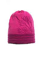Теплая вязанная женская шапочка от Loman Польша Розовый, 53-55