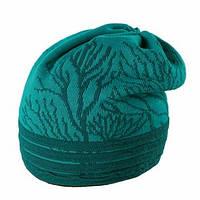 Теплая вязанная женская шапочка от Loman Польша Темно-зеленый, 53-55