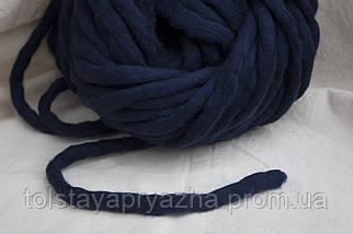 Толстая пряжа ручного прядения Elina Tolina, 100% шерсть (обработана) темно-синий, фото 2