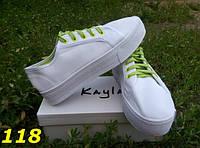 Женские белые кеды на платформе салатовая шнуровка, 37 38 39р