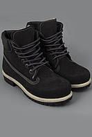 Ботинки Timberland Classics черные с черной подошвой и мехом. Ботинки. Модные ботинки.
