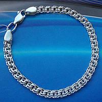 Серебряный браслет, 185мм, 9,2 грамма, плетение  Бисмарк, 5мм, светлое серебро