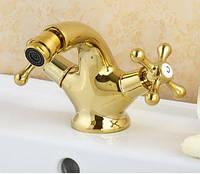 Гигиенический душ смеситель кран для биде в золоте, фото 1