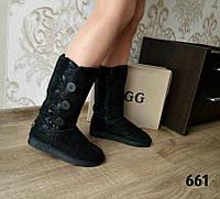 Стильные женские сапоги-угги, натуральный замш, цвет черный