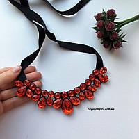 """Ожерелье """"Карла"""" нарядное с кристаллами, красного цвета."""