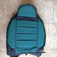 Чехлы универсальные Pilot B кожзам черный + ткань зеленая (с карманом)