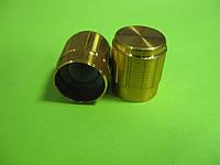 Ручка для потенциометра на ось 6мм, Золотая D=15мм H=17