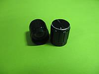 Ручка для потенциометра на ось 6мм, 15x17мм, алюминиевая черная