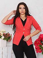 Приталенный женский жакет с отложным воротником и рукавами 9064/1, фото 1