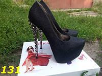 Женские туфли с шипами черные с голографическими блестками, 35 36р