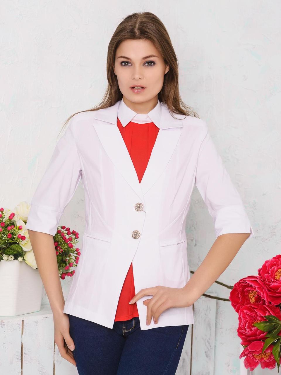 Приталенный женский жакет с отложным воротником и рукавами три четверти 9064/3 - Модный Оазис в Харькове
