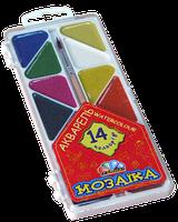 """Акварель Медовая полусухая """"Мозайка"""" 14 цветов, без кисточки, пластиковая упаковка"""