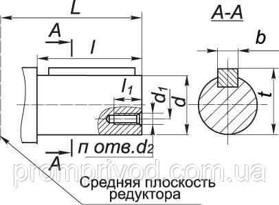 Размеры цилиндрического вала редуктора Ц2-250
