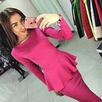 Платье женское длинное трикотажное с баской P5185