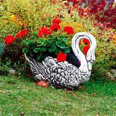 Вазон садовый уличный бетонный «Лебедь»